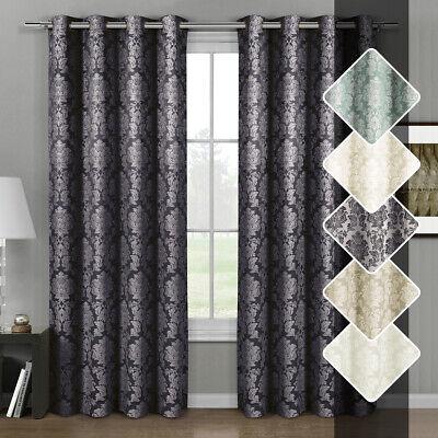 Set of 2 Aryanna Top Grommet Curtains Jacquard Floral Window Curtain Panels
