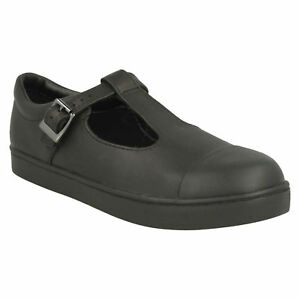 pelle Girls Smart scuola Clark Bar in taglia fibbia Junior nero formali scarpe City Tea T pqnXZZ