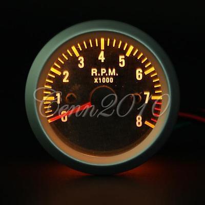 "2"" 52mm Car Van Auto Yellow LED Rev Tacho Tachometer Gauge RPM Carbon Fiber Face"