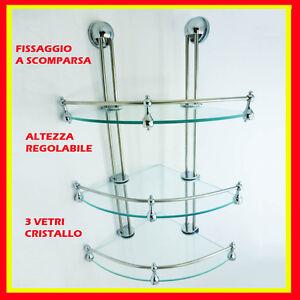 Angoliera portasapone doccia vetro 3 ripiani accessori bagno ebay - Angoliera bagno ...