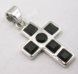 925-Sterling-Silver-Real-BLACK-ONYX-SEMI-PRECIOUS-GEMSTONE-CROSS-Pendant-1-2-034