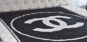 Image Is Loading Chanel Black Amp White Logo Blanket Rug Wool