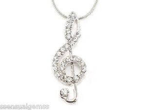 W swarovski crystal treble g clef musical music note pendant women image is loading w swarovski crystal treble g clef musical music aloadofball Choice Image