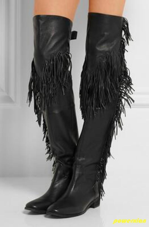 Señoras mujeres de cuero sobre la altas rodilla botas altas la Borlas Flecos Vaquero Zapatos 2019 23e433