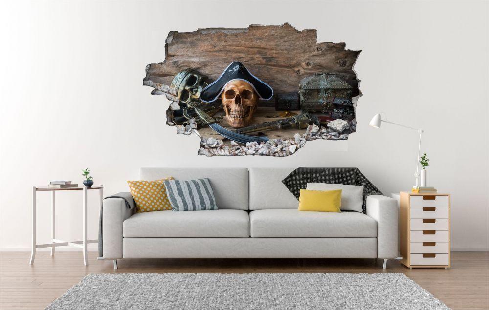 Pirates tête de mort sabre Mural Sticker Sticker Sticker Autocollant c1153 297ae6