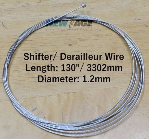"X-Long 1.2 x 3302mm //130/""  Shifter Derailleur Inner Cable Wire Tandem Recum Bike"