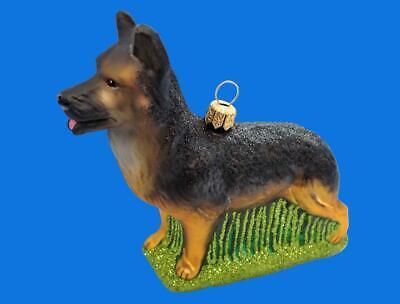German Shepherd Dog Polish Blown Glass Christmas Ornament Holiday Decoration