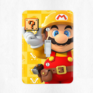 Super-Mario-Maker-Light-Switch-Cover-Plate-Duplex-Outlet-Video-Game-Luigi-New