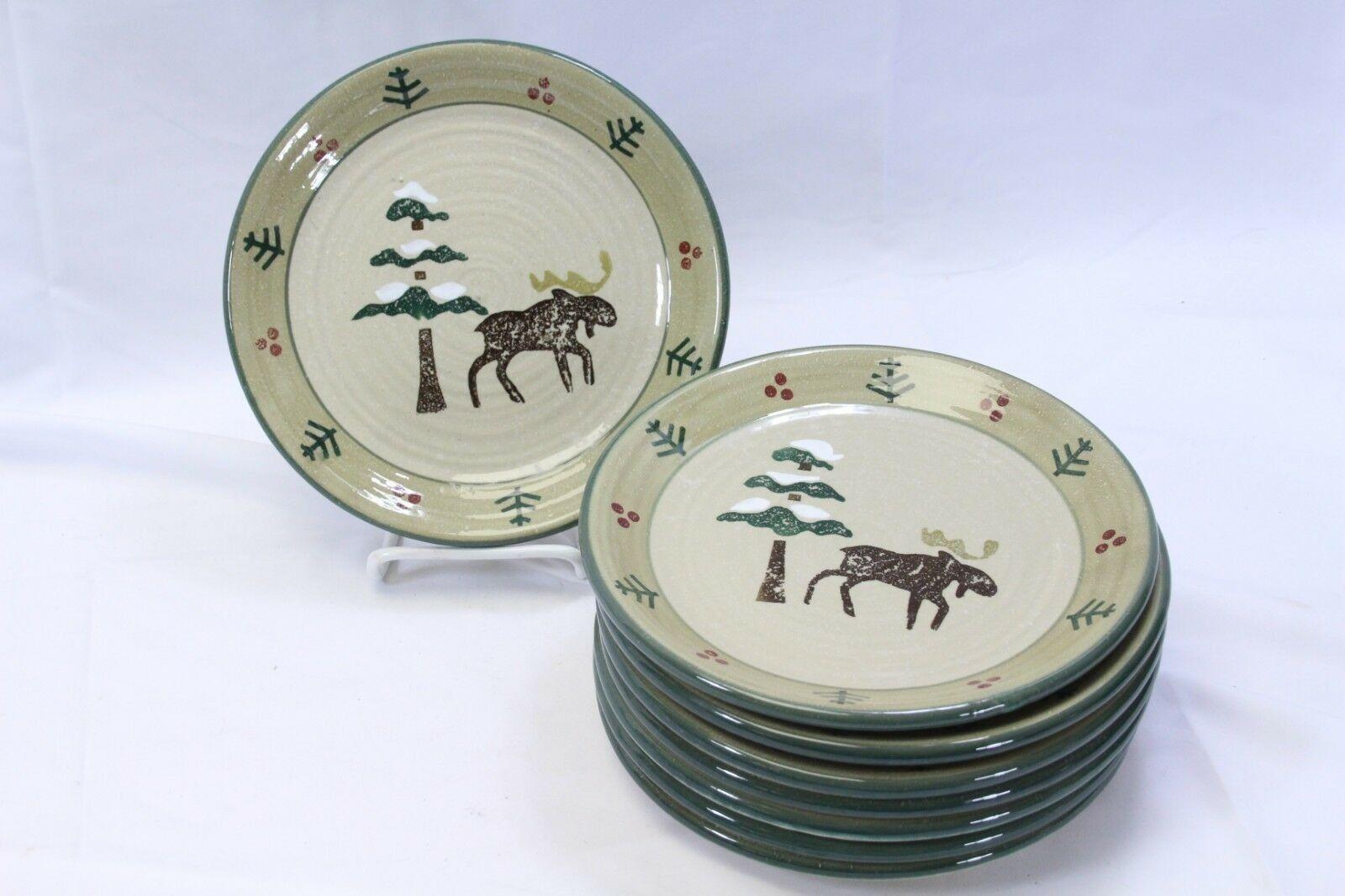 Sonoma Lodge Xmas Salad Plates Moose 7.875  Lot of 8