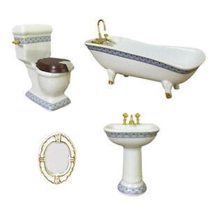 4pcs 1//12 Porcelain Bathroom Set Blue Bathtub Toliet Basin for Dollhouse