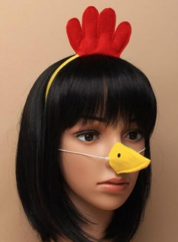Yellow and red chick aliceband with matching felt beak on an elastic