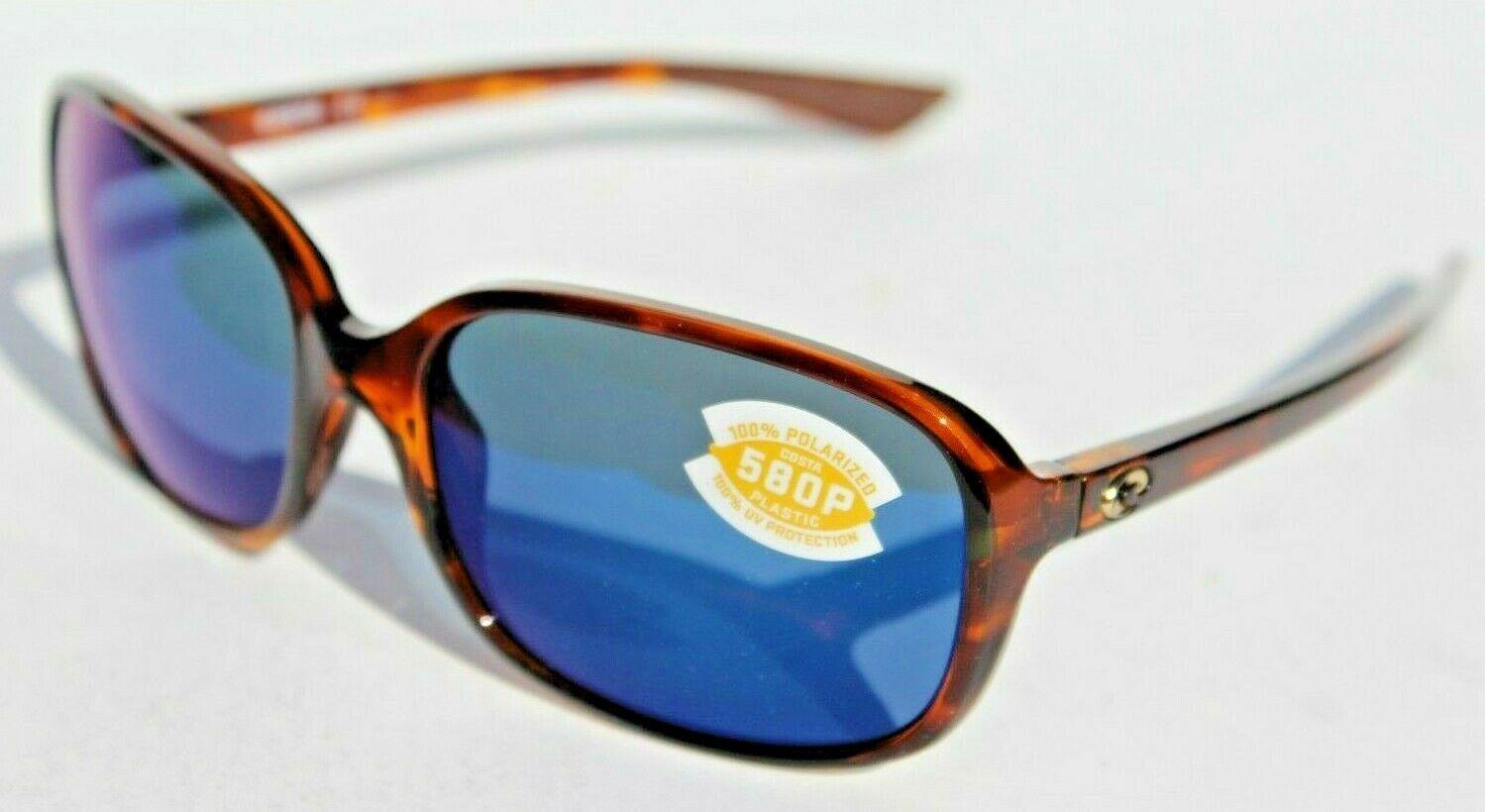 COSTA DEL MAR Riverton POLARIZED Sunglasses Shiny Tortoise/Blue Mirror 580P NEW