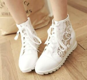 Women-Creeper-Shoes-Lace-Mesh-High-Top-Lace-Up-Ankle-Boots-Breathable-Sneakers