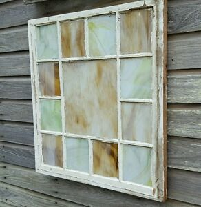 Details About Vintage Sash Antique Wood Window Frame Old Church Shabby Rustic Stained Glass
