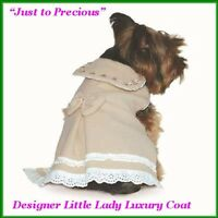 Designer Beige Wool Victorian Style Pet Dress Coat Lace Green Pink Design M/l