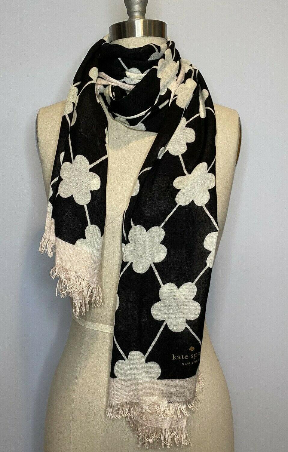 Kate spade festive flower scarf wrap pink black white floral