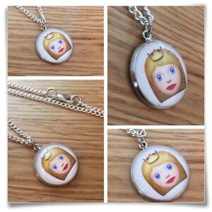 Details about Emoji face girl crown princess Charm pendant necklace txt geek