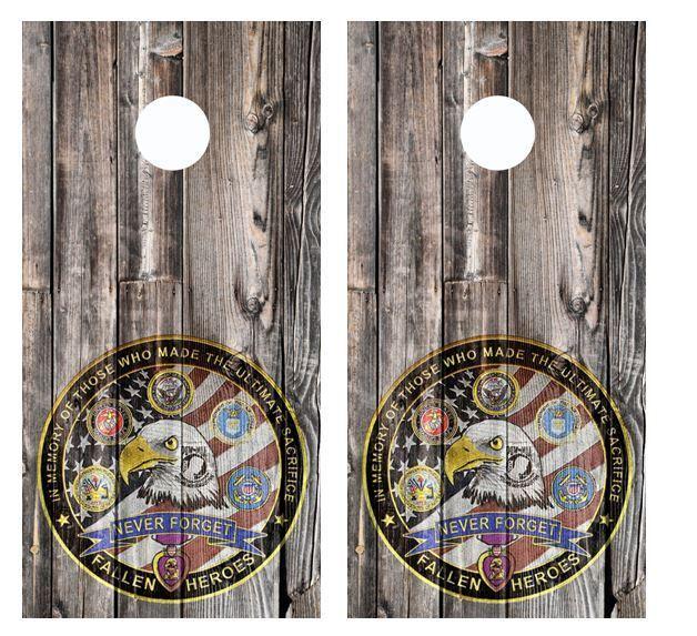 Fallen Heros - Never  Forget Barnwood Cornhole Board Wraps  FREE LAMINATE  enjoy 50% off