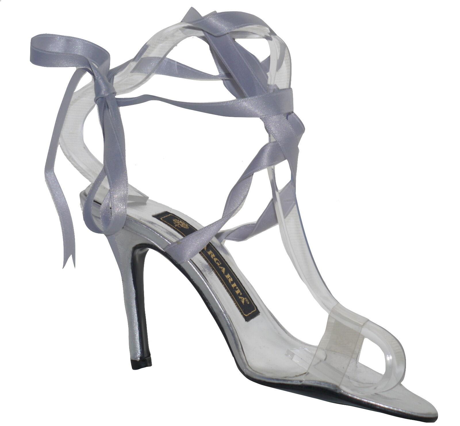 Margarita Silver Leather Transparent Heeled Sandal Size UK 3 EU 36 Shop Pair NEW