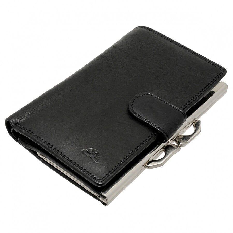 Leather Clip Close Frame Purse Tony Perotii Italian Leather Black TP-1062G