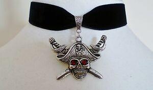 Black Velvet Red Eyed Pirate Choker Gothic Necklace Halloween