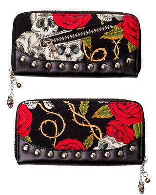 Banned Blue Sugar Skull Dia De Muertos Wallet Purse Faux Leather Tattoo Gothic