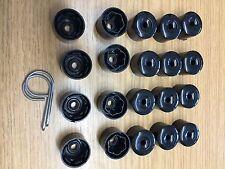 Un set 20x dado ruota in lega VW Tappi Bolt Covers con gli strumenti di rimozione 17mm (Nero)