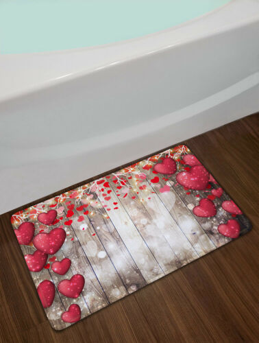 Valentine/'s Day Red Hearts Vintage Wood Wall Shower Curtain Set Bathroom Decor