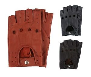 New-Retro-Real-Leather-Men-Fingerless-Driving-cycle-Gloves-Unlined-Chauffeur-UK