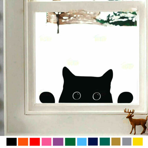 Cute Kittens Peeping Cat Wall Vinyl Stickers Kids Rooms Fridge Cartoon Animals