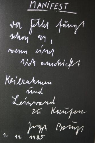 """Originalgrafik /""""Manifest/"""" mit Rahmen und Passepartout JOSEPH BEUYS"""
