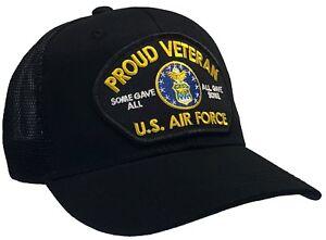 b5dd63d9d Details about U.S. Air Force Veteran Hat Black MESH BACK Ball Cap PROUD  VETERAN SERIES
