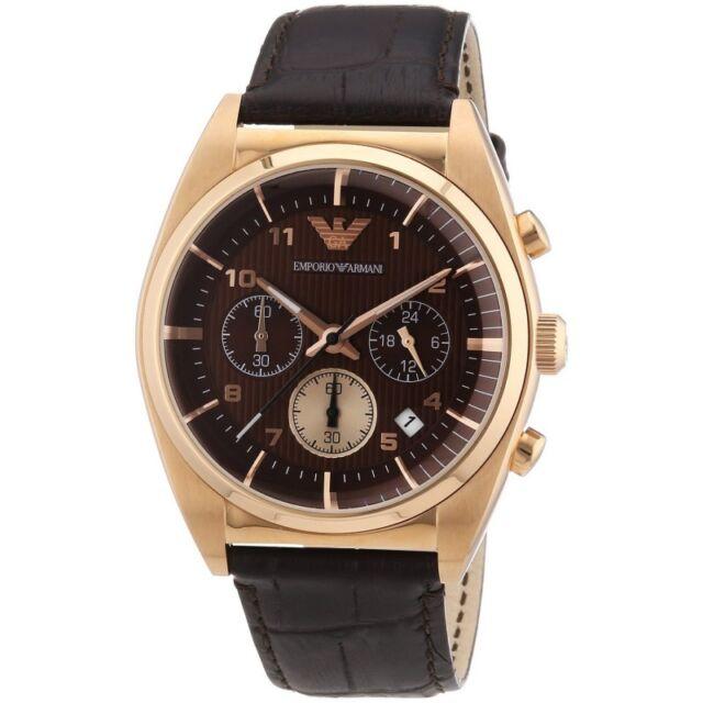 641490ceef3b Reloj Hombre de Cuarzo Emporio Armani Ar0371 Marrón Cronógrafo Correa de  Cuero