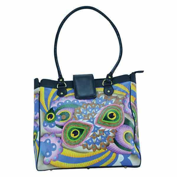 Swank Bags Hand Painted Leather Shopping Bag - Abstract Pattern SB093-3