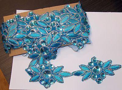 turquoise Jewel Sequin Indian wedding dance costume ribbon rhinestone applique