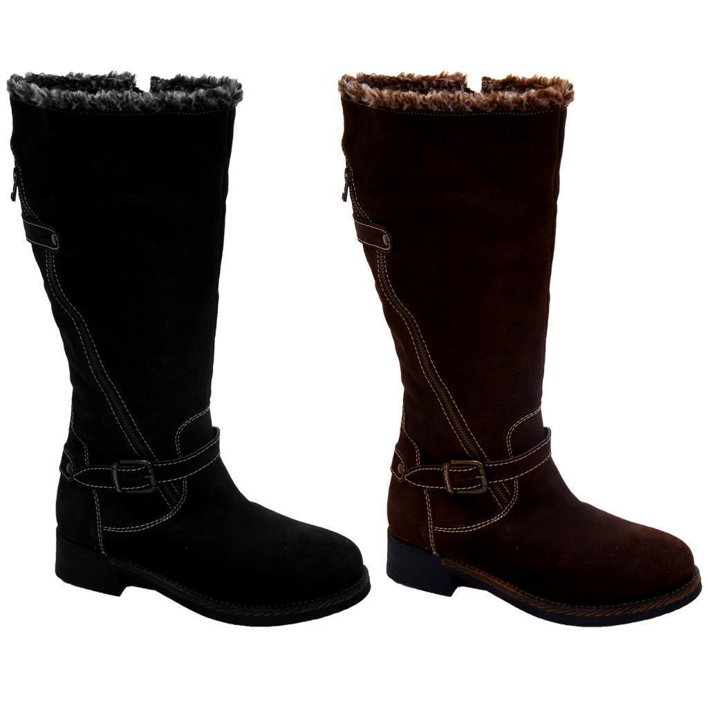 Señoras de cuero superior y interior de la rodilla alta baja Talón Para Mujer Botas Zapatos