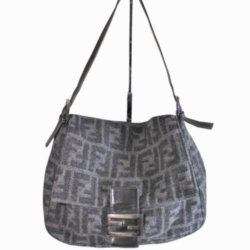 Vintage Fendi Monogram Zucca Hand Bag Wool Fabric