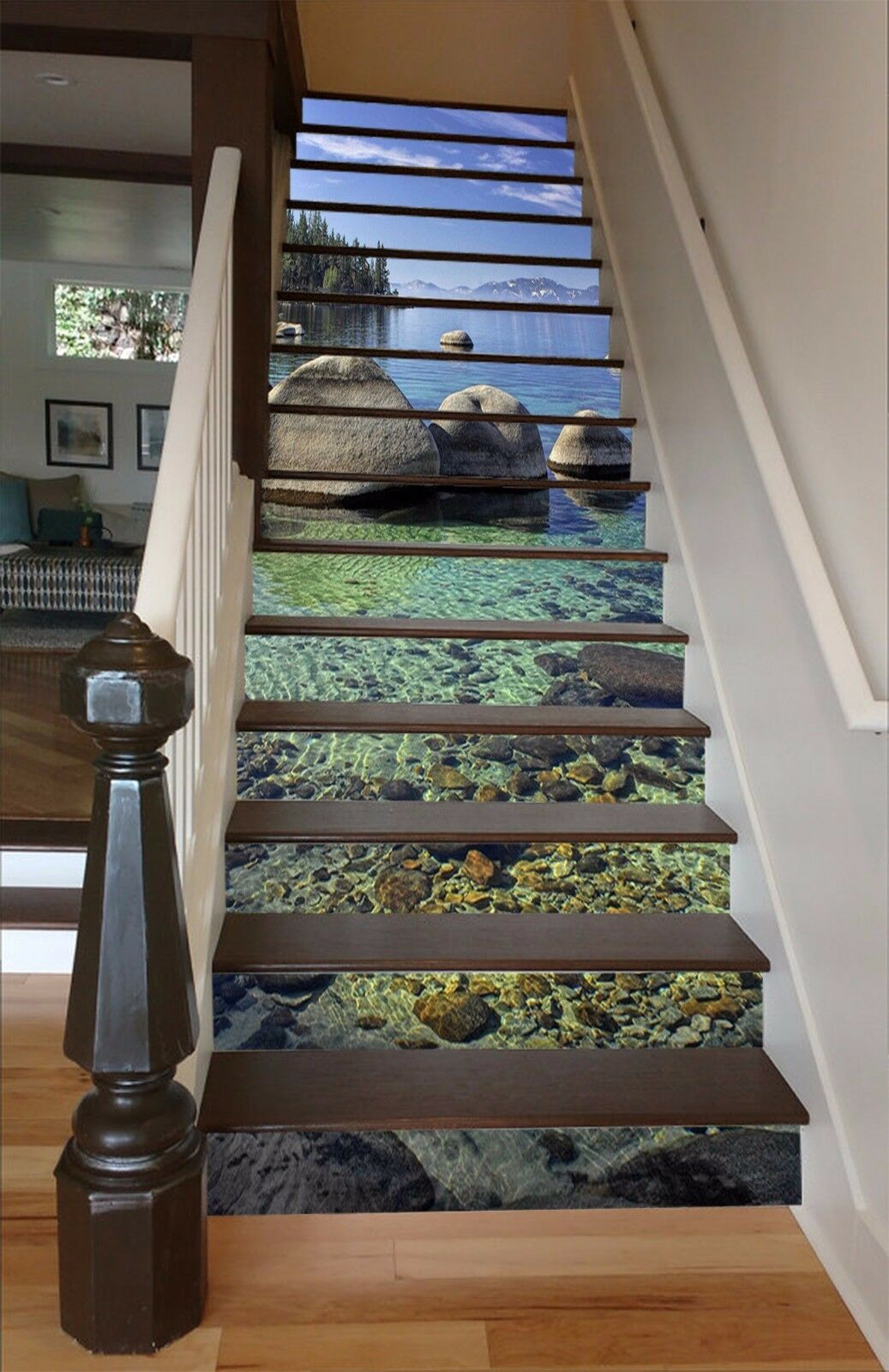 3D Clear Lake 054 Stairs Risers Decoration Photo Mural Vinyl Decal WandPapier US