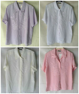 NEW-WOMENS-PLUS-SIZES-12-32-EMBROIDERED-COLLARED-SHORT-SLEEVE-BLOUSE-TOP