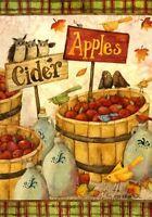 Autumn Cider Apples Owl Fall Leaf Thanksgiving Garden Flag 12 x 18 on Sale