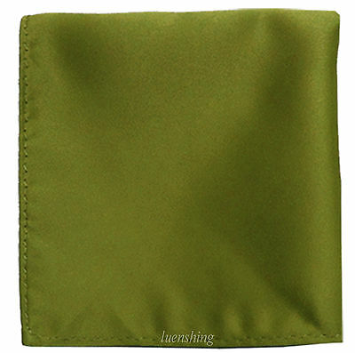 New formal Brand Q satin polyester pocket square hankie only olive green prom
