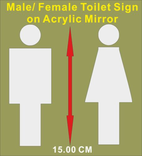 """/""""Male//Female Acrylic Mirror Sign/"""" For Toilet Door,Custom Size,Personalised Name"""