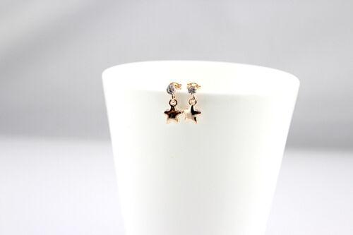 Jolies mini Boucles d/'Oreille Etoile en Alliage et Strass Blanc