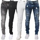 BNWT ENZO Mens Super Skinny Stretch Biker Jeans Blue Black White All Waist Cool