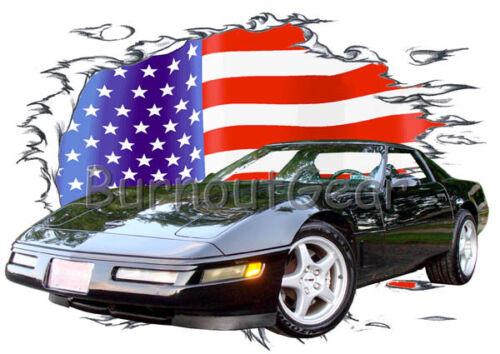 1996 Black Chevy Corvette Custom Hot Rod USAT T-Shirt 96 Muscle Car Tees