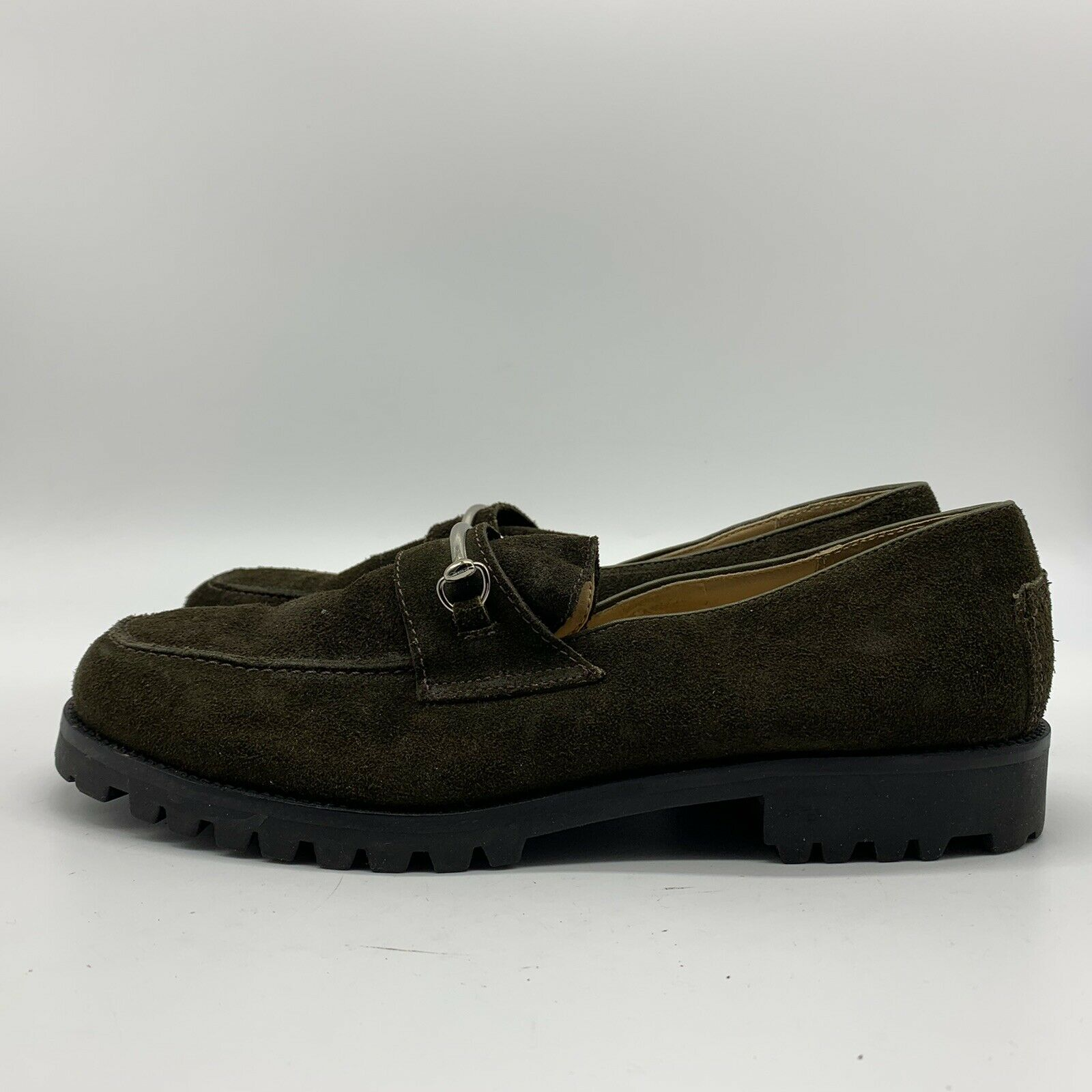Ann Taylor Dark Green Slip On Oxford Loafers Shoes, Size 8.5