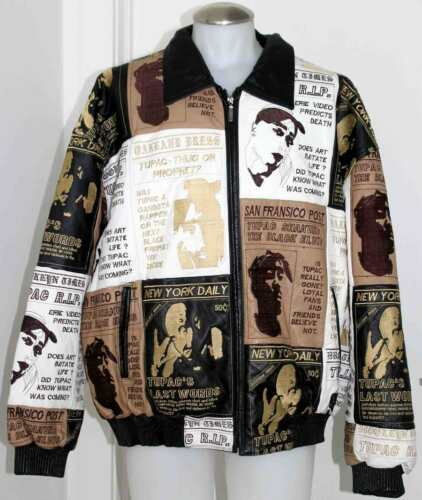TUPAC LEATHER BOMBER JACKET WITH FINAL WORDS R.I.P