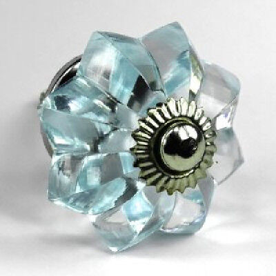Small Blue Drawer Knobs Cabinet Hardware Chrome Vintage Knob Pulls #K132 |  EBay