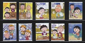 JAPAN-2010-ANIMATION-HERO-14TH-SERIES-CHIBI-MARUKO-CHAN-COMP-SET-10-STAMPS-USED