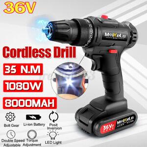 36V 8000mAh Cordless Combi Drill Driver Li-Ion Fast Charge Electric Screwdriver